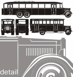 vintage bus set vector image