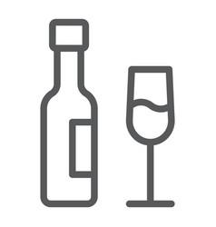 wine line icon glass and alcohol drink sign vector image