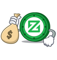 With money bag zcoin character cartoon style vector