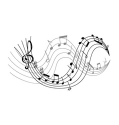 with waves of music notes vector image