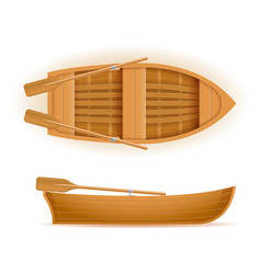 wooden boat top and side view vector image
