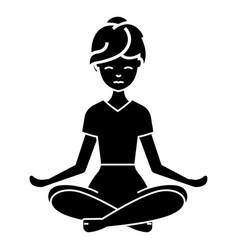 yoga woman icon black sign vector image