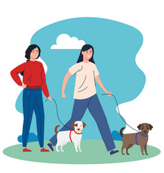 Young women walking with dogs mascots in landscape vector