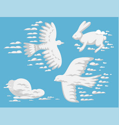 Animal clouds silhouette pattern vector