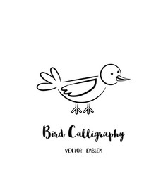 bird calligraphy emblem vector image vector image
