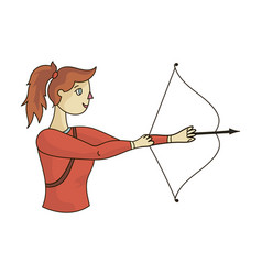 a girl stands in profile and holds the bow vector image vector image