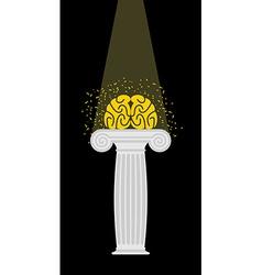 Brain on a pedestal Light falls on mind vector image