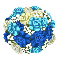 delicate bouquet of blue and white flowers vector image vector image
