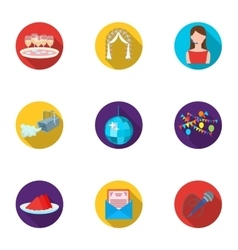 Event service set icons in flat style big vector