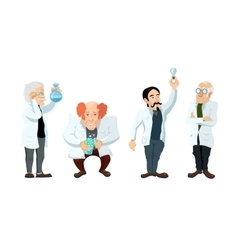 Four cute cartoon scientists characters isolated vector image