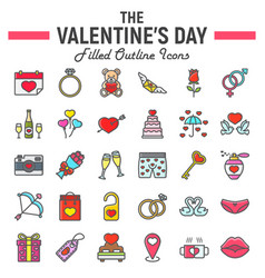 happy valentines day filled outline icon set vector image