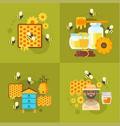 honey and beekeeping vector image vector image