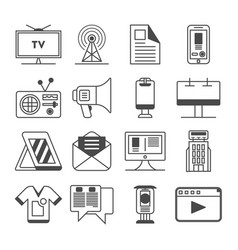 media and advertisement icon set vector image