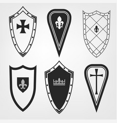 medieval shield set vector image