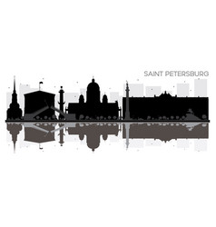 saint petersburg city skyline black and white vector image vector image