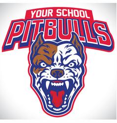 school mascot of pitbull dog vector image