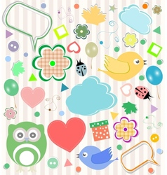 Set of elements - owls birds flowers ladybugs vector image vector image