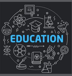 black line flat circle education vector image