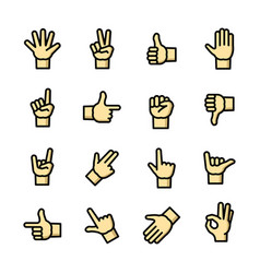 gestures icons set vector image vector image