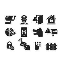 home security icon set 03 vector image