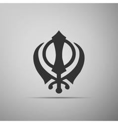 Khanda sikh icon on grey background vector