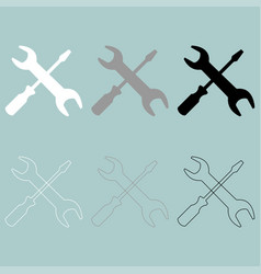 Screwdriver and spanner wrench icon vector