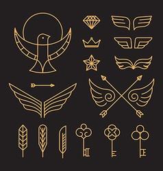 set of outline hipster design elements vector image vector image