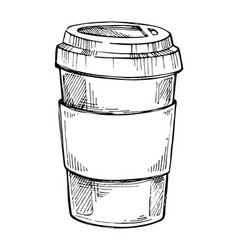 take out coffee cup freehand pencil drawing vector image