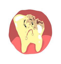 tooth decay cartoon character with sad face vector image vector image