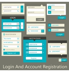 user interface login and account registration vector image vector image