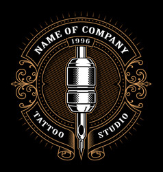 vintage tattoo studio emblem 1 for dark background vector image vector image