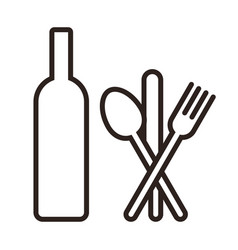 bottle knife spoon and fork vector image vector image