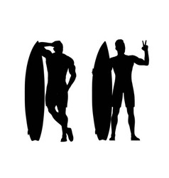 silhouettes of surfers vector image