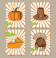 Sketch Thanksgiving set of posters vector image vector image