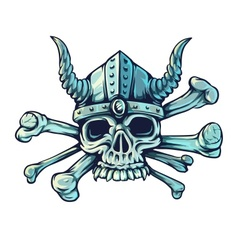 Skull with horns and crossed vector image vector image