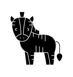 zebra cute icon black sign vector image vector image