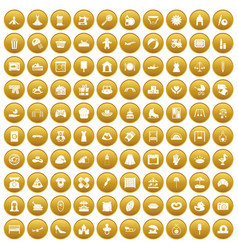100 motherhood icons set gold vector