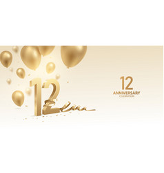 12th anniversary celebration background vector