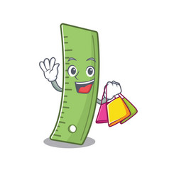 A happy rich ruler waving and holding shopping bag vector