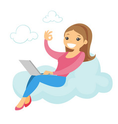 A woman on a cloud working on a laptop and showing vector
