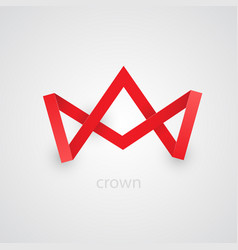 Abstract red paper crown on white background vector
