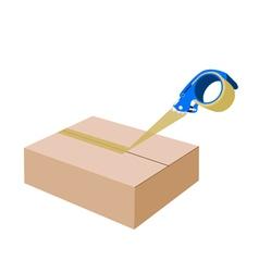 Adhesive Tape Dispenser Closing A Cardboard Box vector