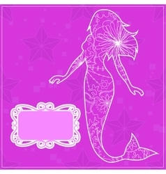 Background pink with a mermaid vector image