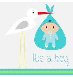 Bashower card with stork its a boy vector