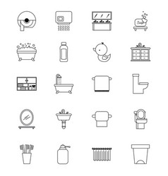 bathroom set of icons equipment elements concept vector image