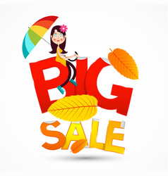 Big sale symbol with happy girl with colorful vector