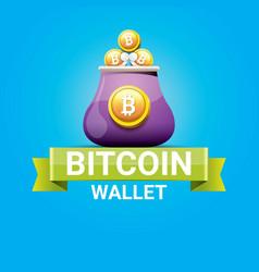 Bitcoin wallet icon with coins vector