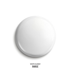 Blank white glossy badge vector