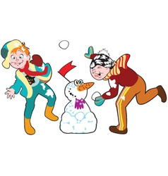 boys playing with snowballs vector image