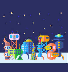bright extraterrestrial future city set in cartoon vector image